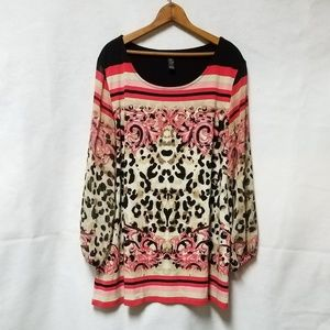 Style & Co. Leopard Print Pink Sheer Sleeve Blouse